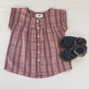 Old Navy Plaid Babydoll Top